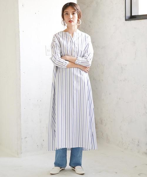 [koe] ストライプカフタン風ドレス