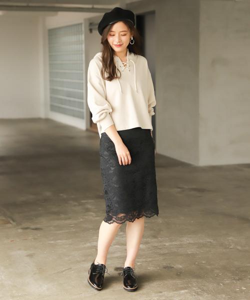 [mysty woman] スカラレースタイトスカート 827410