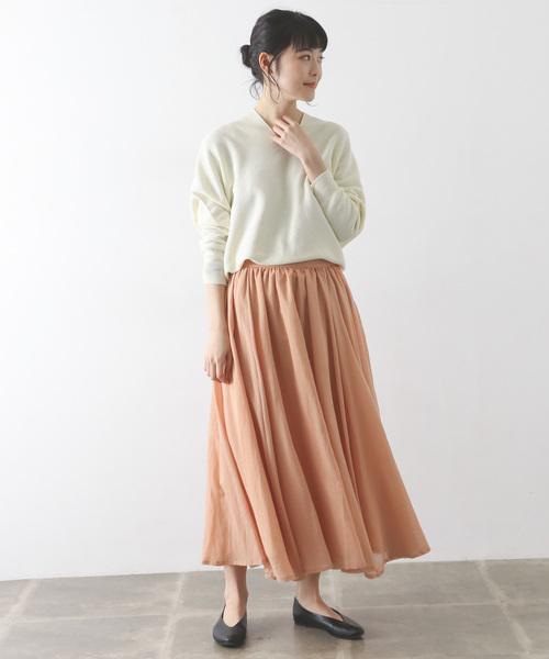 コットンシフォンギャザースカート