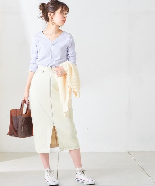 [natural couture] フロントジップデニムスカート