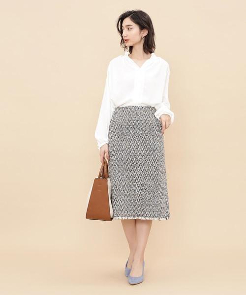 [ADAM ET ROPE'] ミックスツイードタイトスカート