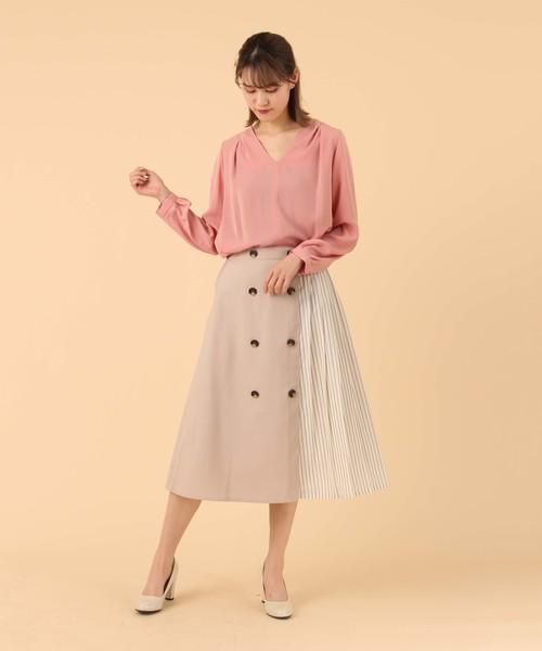 [BURNER] 【BURNER collection】マットカルゼ異素材ドッキングスカート