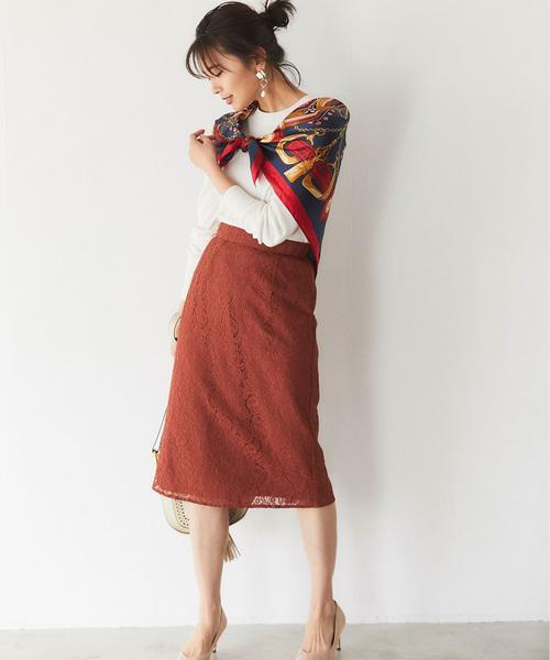 [tocco closet] 総レースミモレタイトスカート
