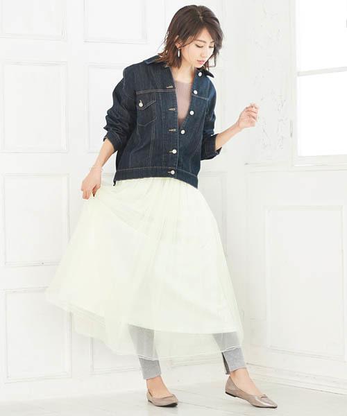 [Pierrot] マキシ丈チュールスカート