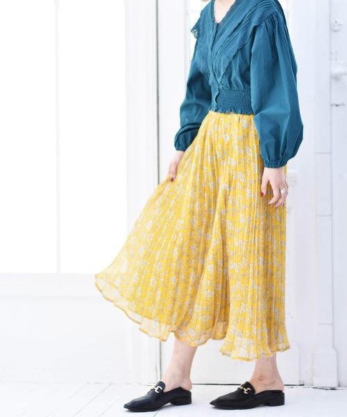[RETROGIRL] 柄プリーツスカート