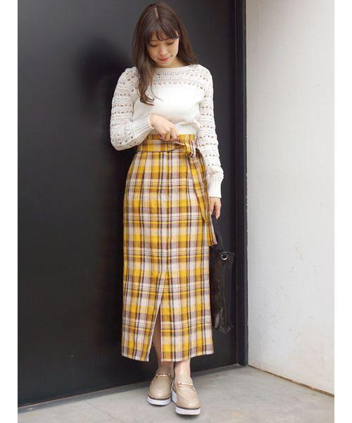 [MERCURYDUO] チェックIラインロングスカート