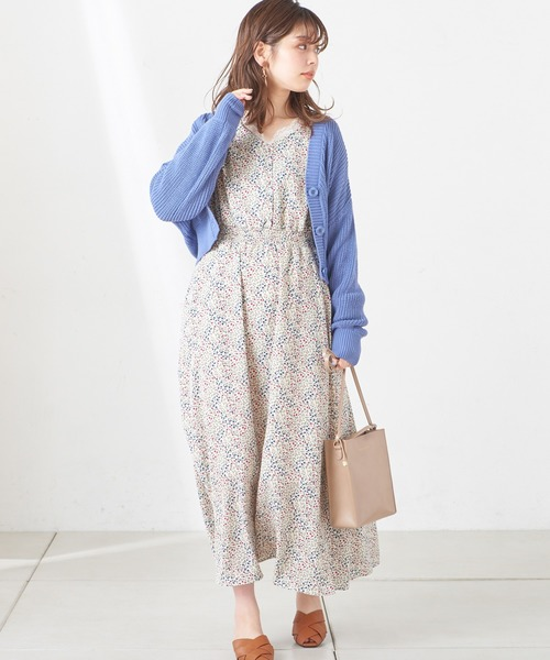 natural couture 変形シャーリングレディロングワンピ