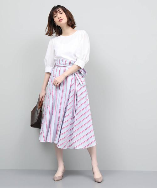 [ROPE'] 【ドラマ着用】タイプライタータックフレアスカート