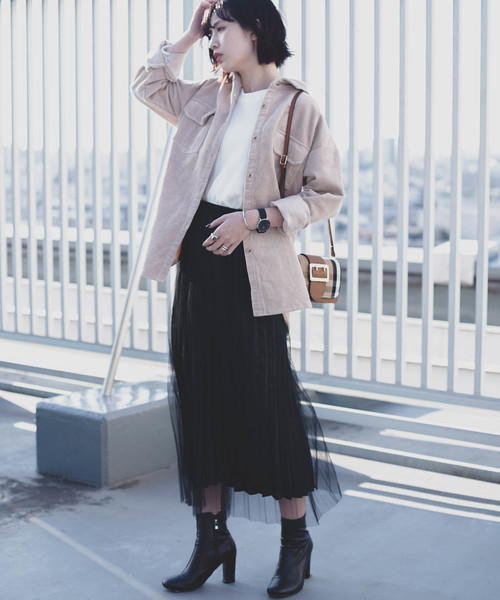[YARD PLUS] AUNT MARIE'S サテンチュールプリーツスカート