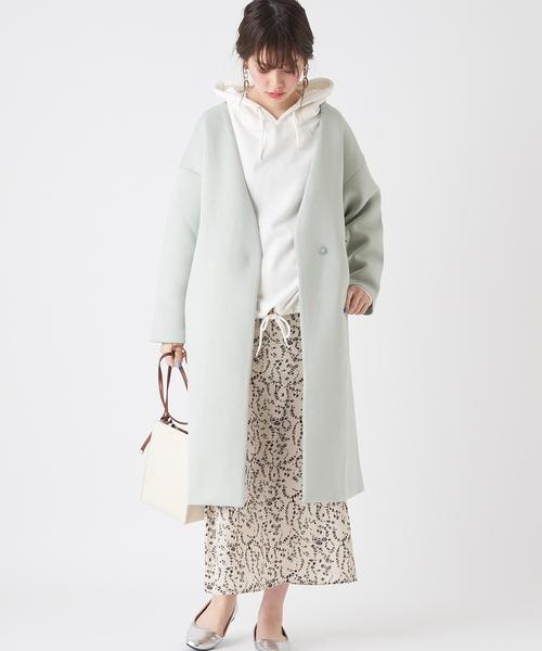 natural couture ノーカラーおしゃれコート