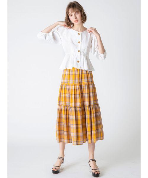 [dazzlin] 【C】マドラスチェックマキシスカート