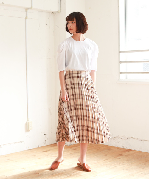 [Auntie Rosa] 【Auntie Rosa】チェックプリーツスカート