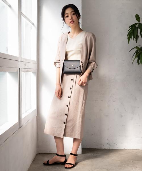 [TIENS ecoute] 【セットアップ対応】アシメボタンタイトスカート
