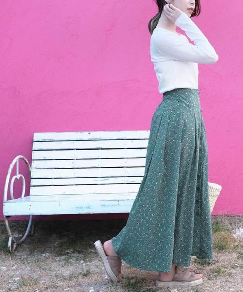 [ANDJ] フロントボタンポプリン花柄ロングスカート