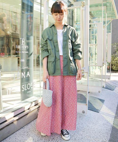 [IENA] フラワーパターン フレアスカート