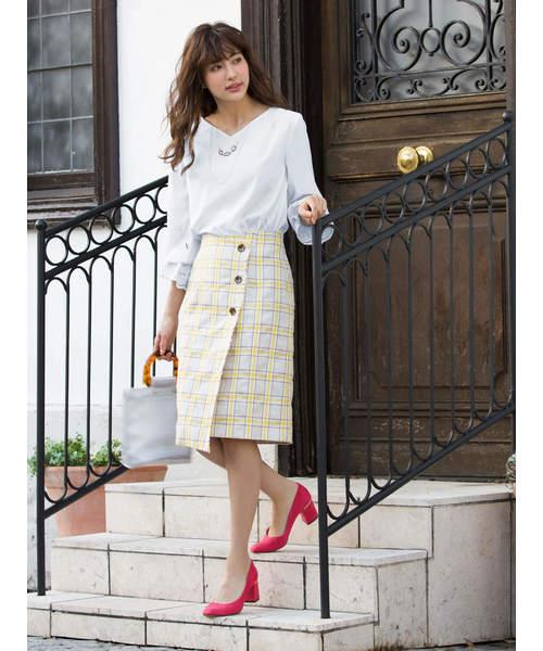 [Ailand] 麻チェックフリンジタイトスカート