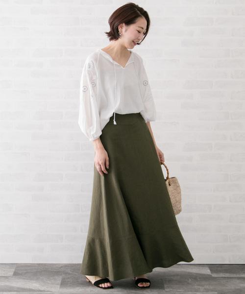 [URBAN RESEARCH ROSSO WOMEN] 【高機能リネン】マキシスカート