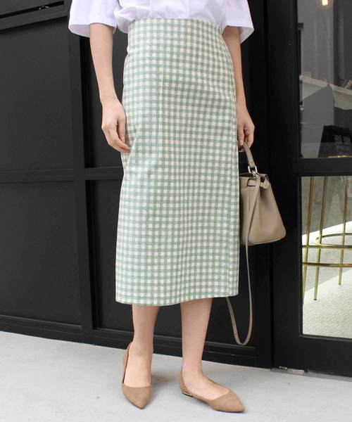 [MODE ROBE] ギンガムチェックタイトスカート