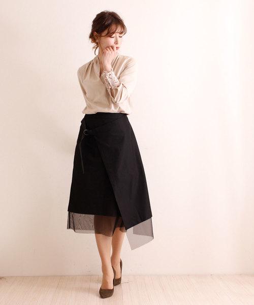 [Sawa a la mode] チュールレースが美しいラップスカート