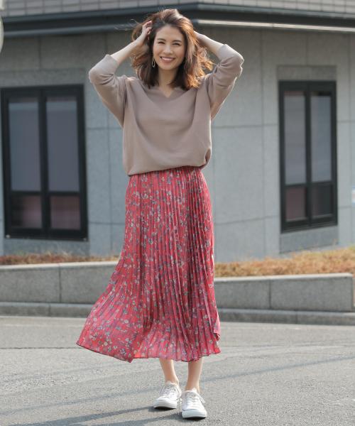 [BABYLONE] フラワープリントPLTSスカート