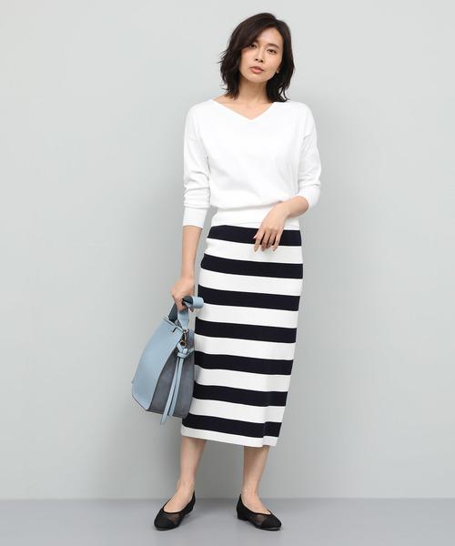 [ROPE'] コットンボーダーニットタイトスカート