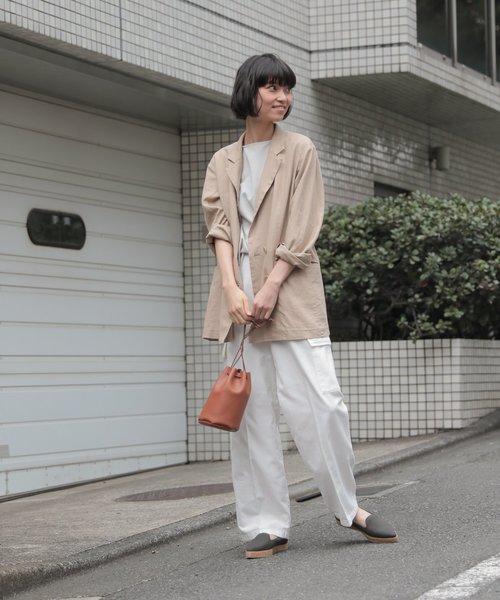 [LAKOLE] 【ドライタッチ】リネン混ダブルブレステッドジャケット / LAKOLE