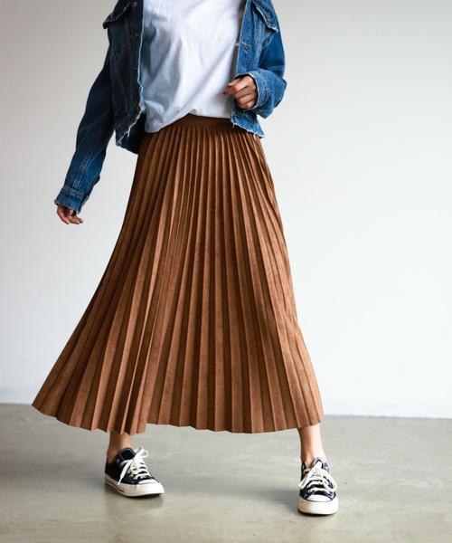 [Auntie Rosa] 【Holiday】スウェードプリーツスカート◆ZOZOTOWN限定◆