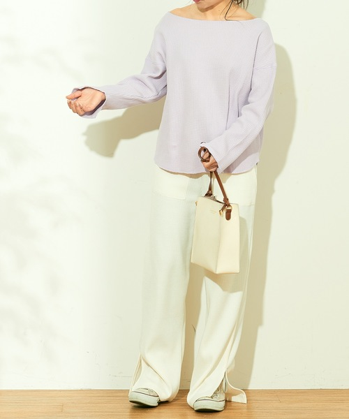 [natural couture] 袖口スリット鬼ワッフルプルオーバー