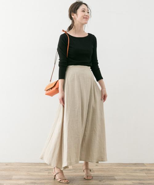 リネンラップ風ロングスカート