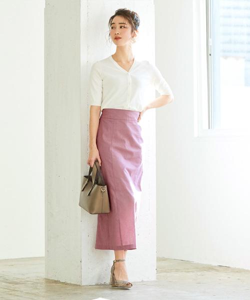 [ur's] 麻混ハイウエストタイトスカート