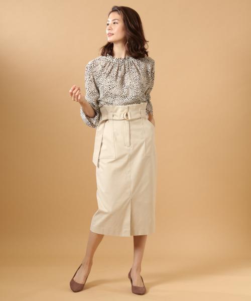 [BABYLONE] ベルト付きハイウエストタイトスカート