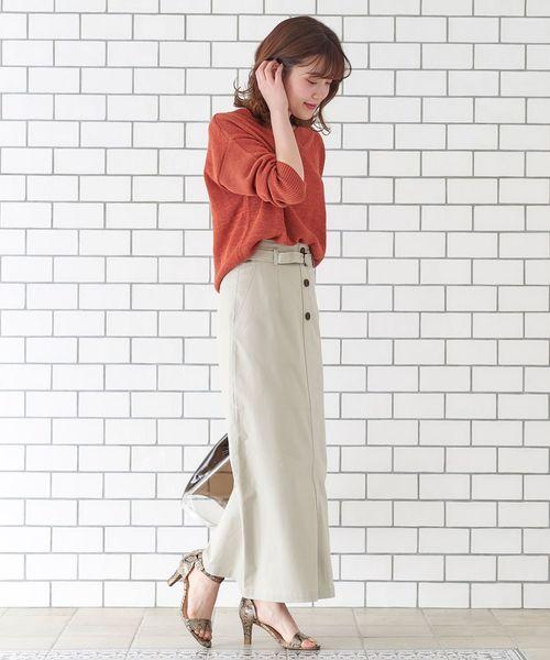 チノストレッチロングタイトスカート