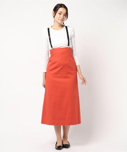 [PROPORTION BODY DRESSING] <B>サスペンダー付き麻ロングタイトスカート
