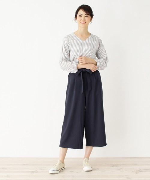 [SHOO・LA・RUE] 【防シワ】コットンVネックシャツ