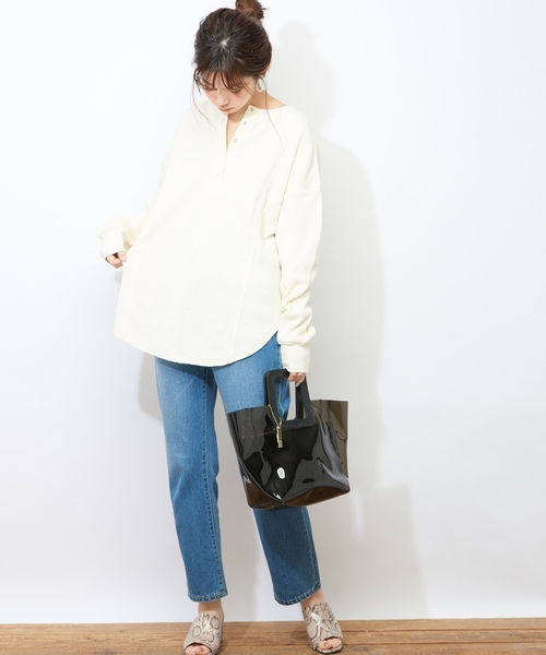 [natural couture] ワッフル2WAYビッグプルオーバー