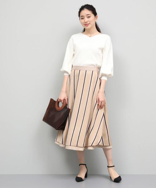 [ROPE'] 【リバーシブル】フラワープリント&ストライプフレアースカート