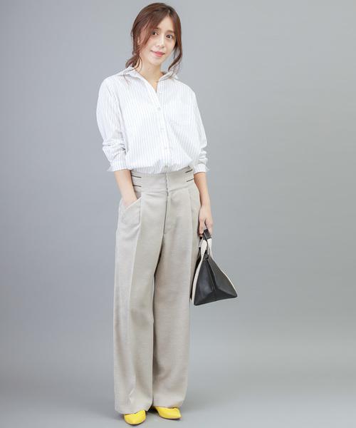 [MERVEILLE H.] コットン / キュプラ 衿抜き シャツ