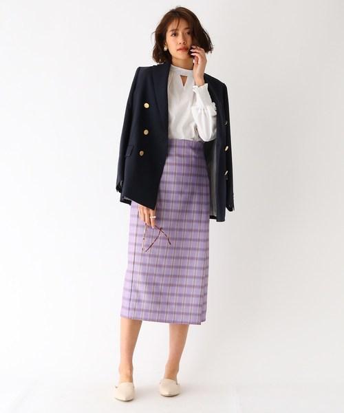 [aquagirl] スプリングチェックタイトスカート