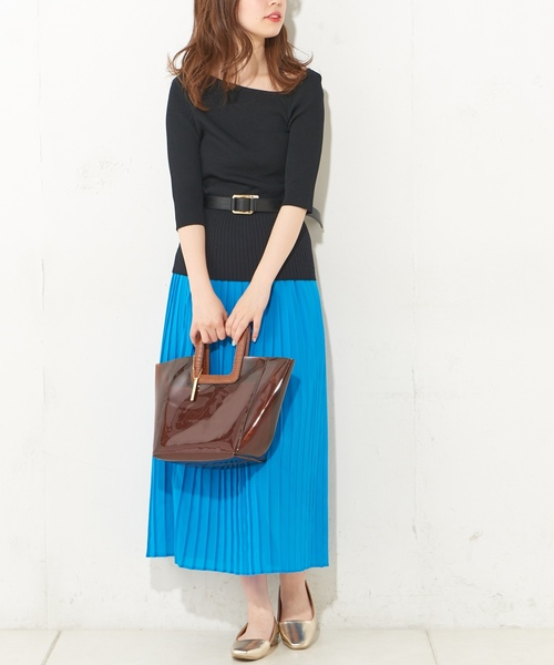 [natural couture] ロングプリーツスカート