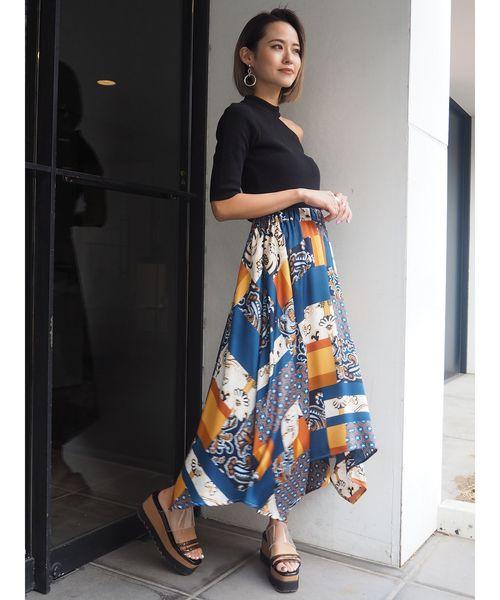 [MURUA] スイッチパターンフレアスカート