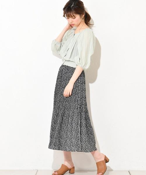 [natural couture] ドットドビーボリューム袖ブラウス