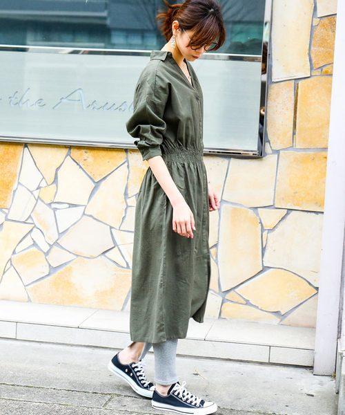 [Fashion Letter] 7分袖ドルマンシャツワンピース
