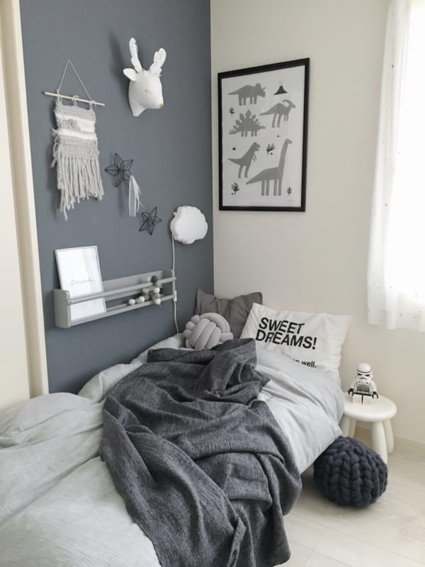 子供部屋インテリア 男の子 北欧 モノトーン ベッド