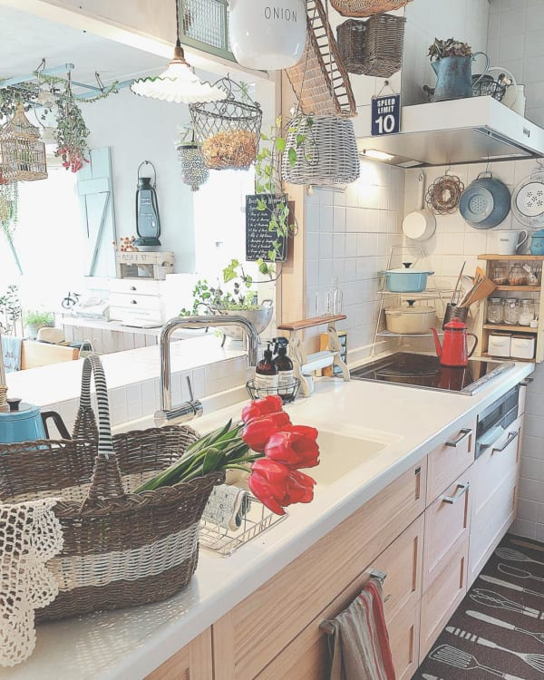 観葉植物 春 チューリップ キッチン