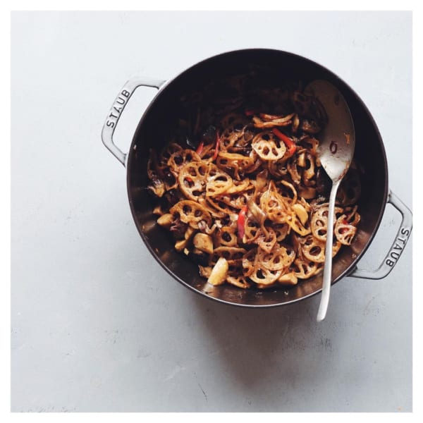 蓮根と木の子のバルサミコ炒め