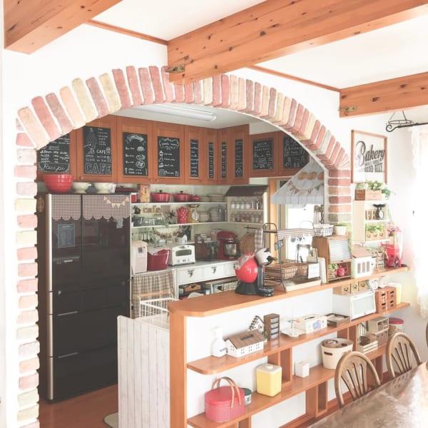 レンガモチーフ キッチン アーチ状