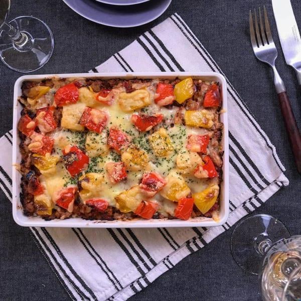煮物で煮込んだ鶏肉の残りで夏野菜のミートドリア