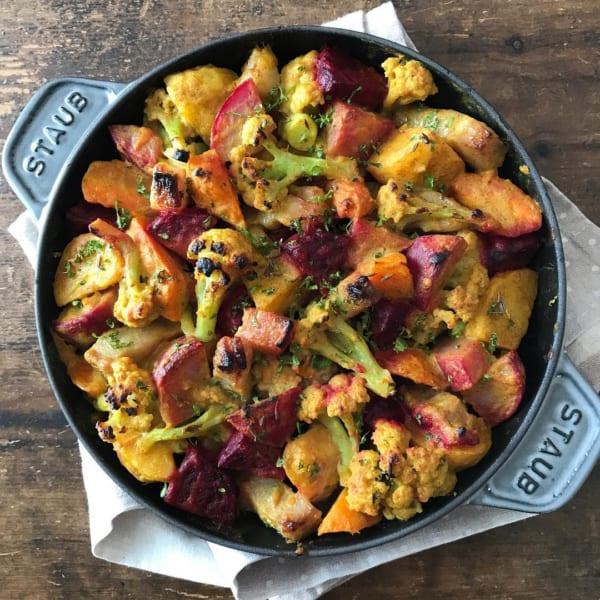 ベーコンと野菜のあぶり焼き カレーソース