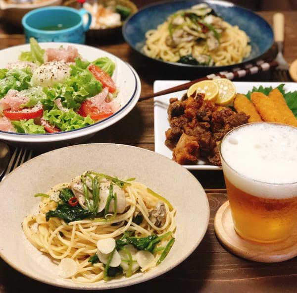 牡蠣とほうれん草のスパゲティ