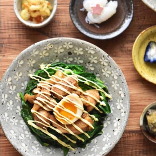 鶏肉とほうれん草の中華風甘辛丼
